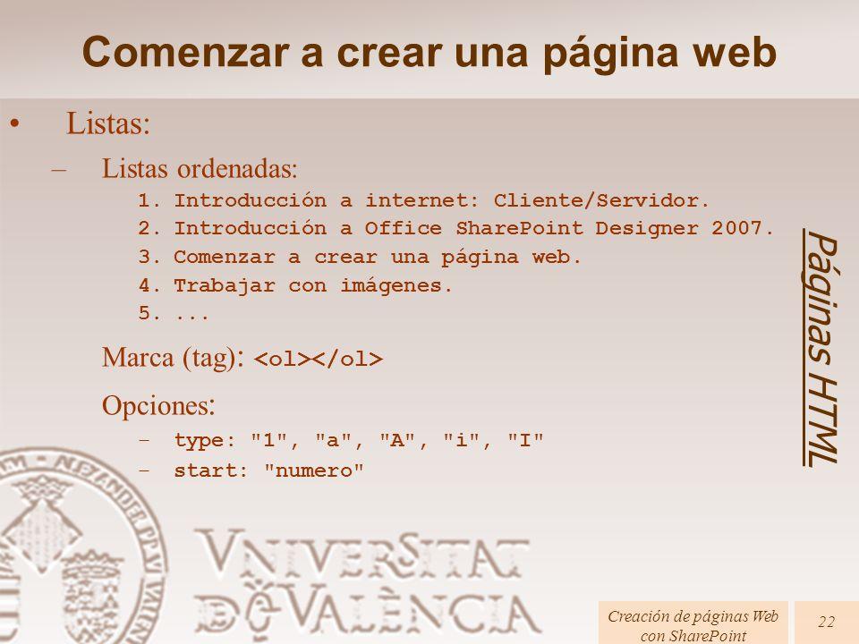 Páginas HTML Creación de páginas Web con SharePoint 22 Listas: –Listas ordenadas: 1.Introducción a internet: Cliente/Servidor.