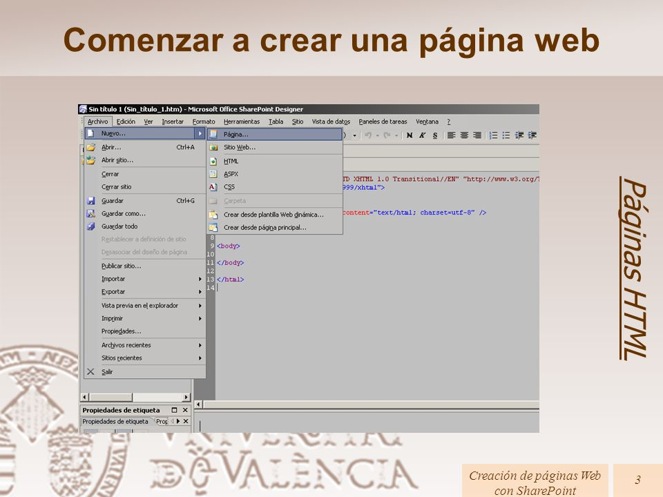 Comenzar a crear una página web Páginas HTML Creación de páginas Web con SharePoint 3