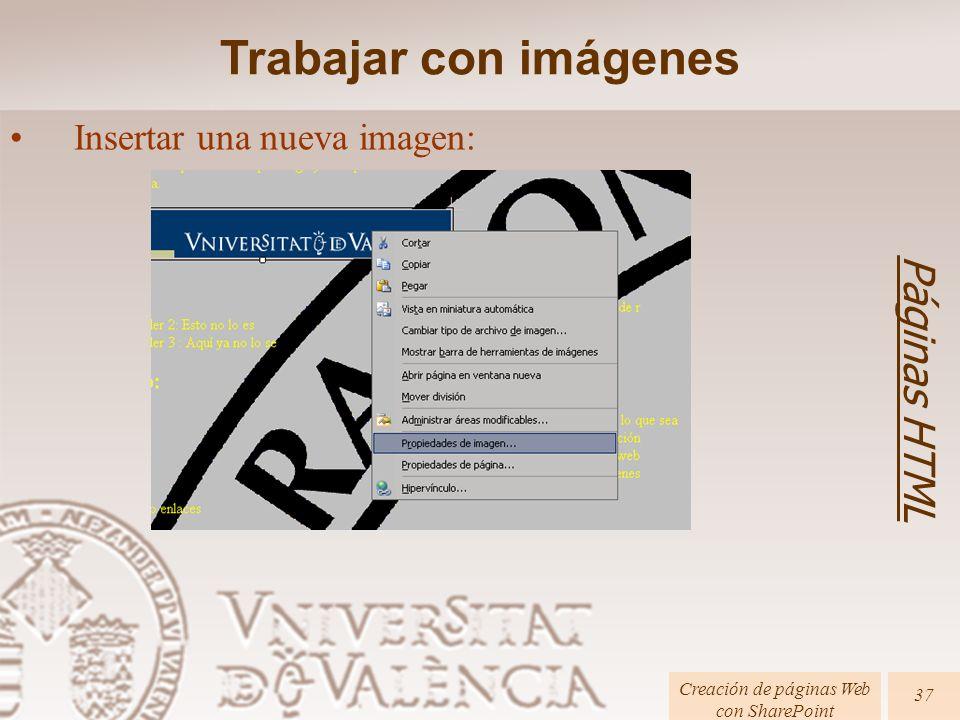 Páginas HTML Creación de páginas Web con SharePoint 37 Trabajar con imágenes Insertar una nueva imagen: