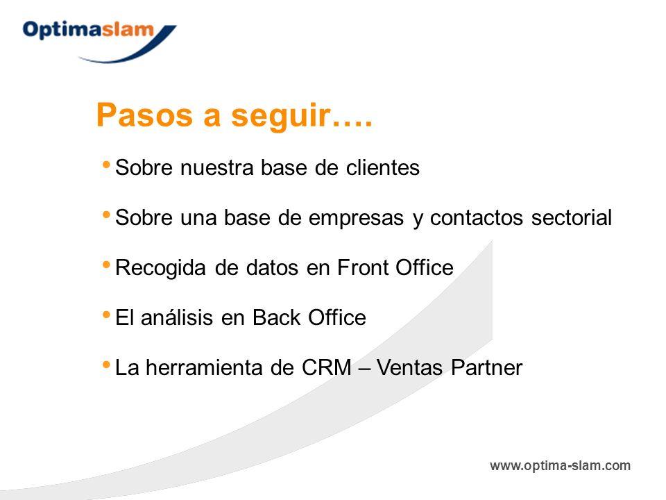 Pasos a seguir…. Sobre nuestra base de clientes El análisis en Back Office Sobre una base de empresas y contactos sectorial La herramienta de CRM – Ve