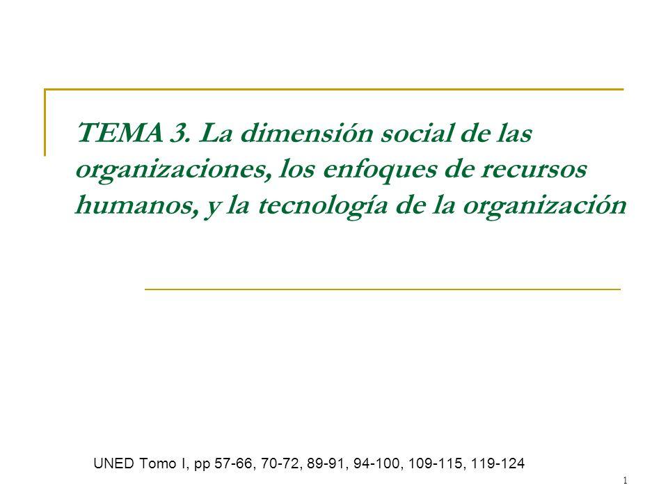 1 TEMA 3. La dimensión social de las organizaciones, los enfoques de recursos humanos, y la tecnología de la organización UNED Tomo I, pp 57-66, 70-72