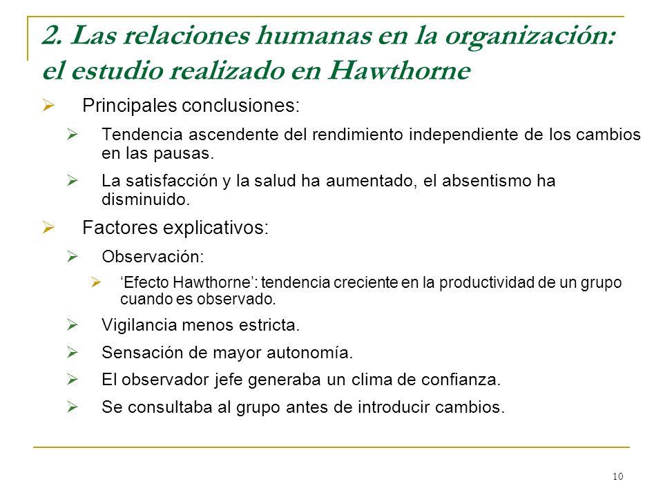10 2. Las relaciones humanas en la organización: el estudio realizado en Hawthorne Principales conclusiones: Tendencia ascendente del rendimiento inde