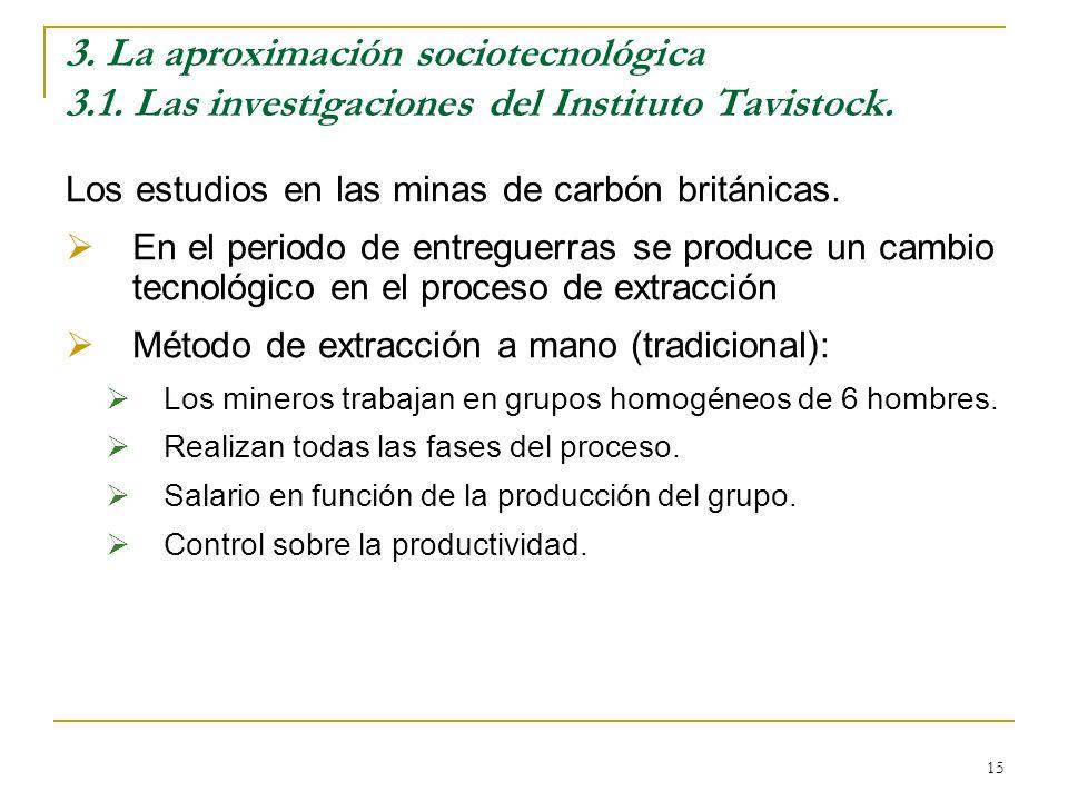 15 3. La aproximación sociotecnológica 3.1. Las investigaciones del Instituto Tavistock. Los estudios en las minas de carbón británicas. En el periodo