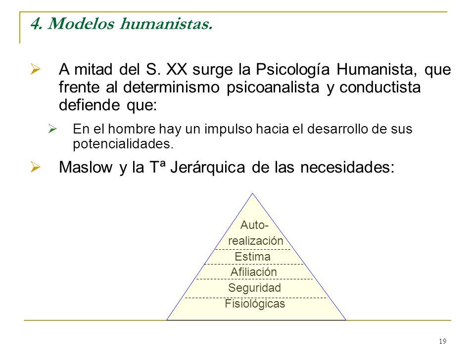 19 4. Modelos humanistas. A mitad del S. XX surge la Psicología Humanista, que frente al determinismo psicoanalista y conductista defiende que: En el