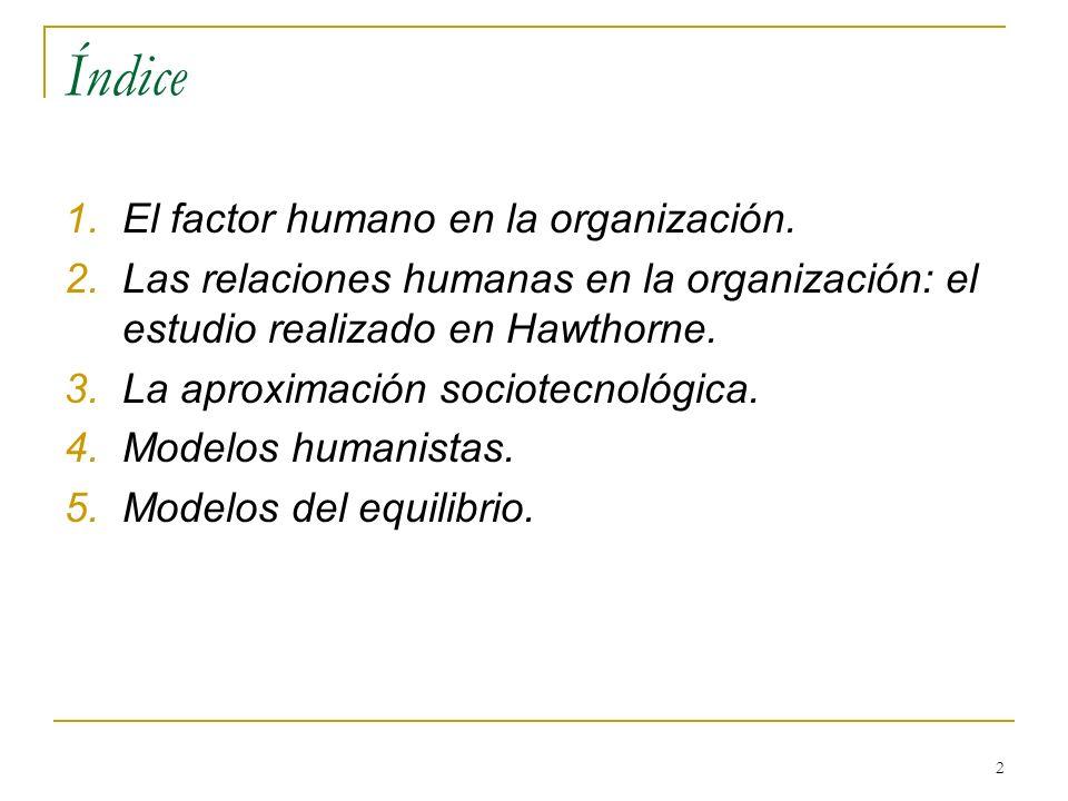 2 Índice 1.El factor humano en la organización. 2.Las relaciones humanas en la organización: el estudio realizado en Hawthorne. 3.La aproximación soci