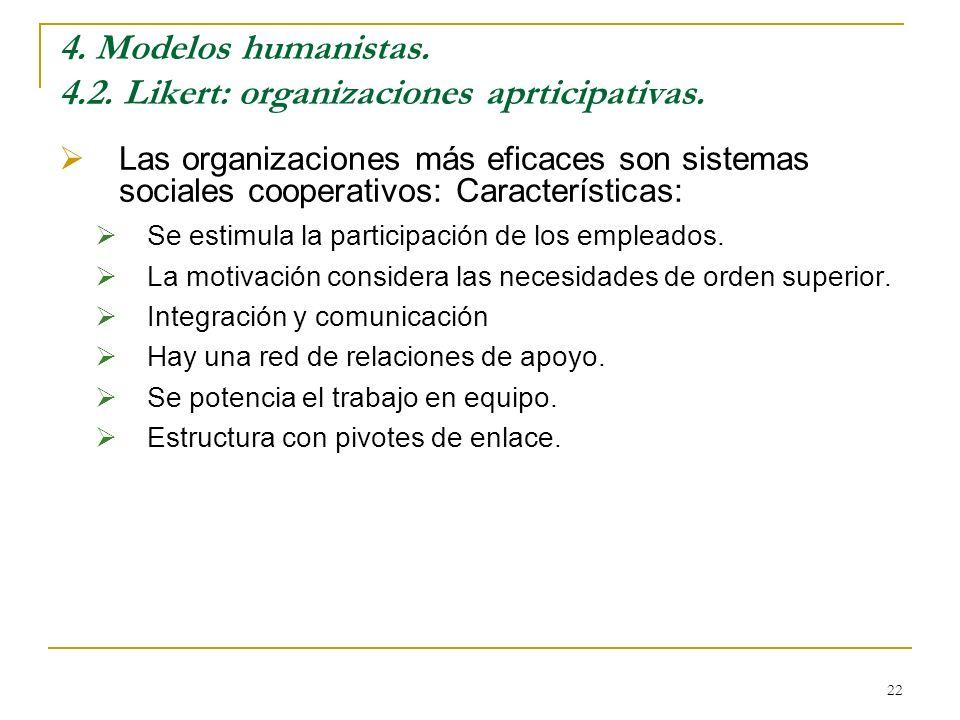 22 4. Modelos humanistas. 4.2. Likert: organizaciones aprticipativas. Las organizaciones más eficaces son sistemas sociales cooperativos: Característi