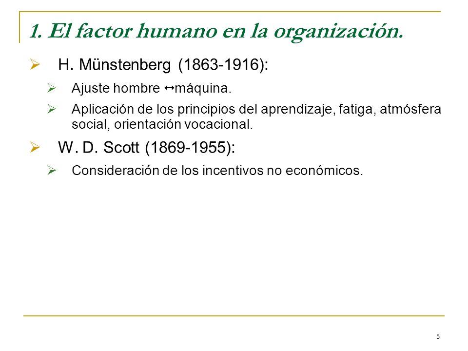 5 1. El factor humano en la organización. H. Münstenberg (1863-1916): Ajuste hombre máquina. Aplicación de los principios del aprendizaje, fatiga, atm