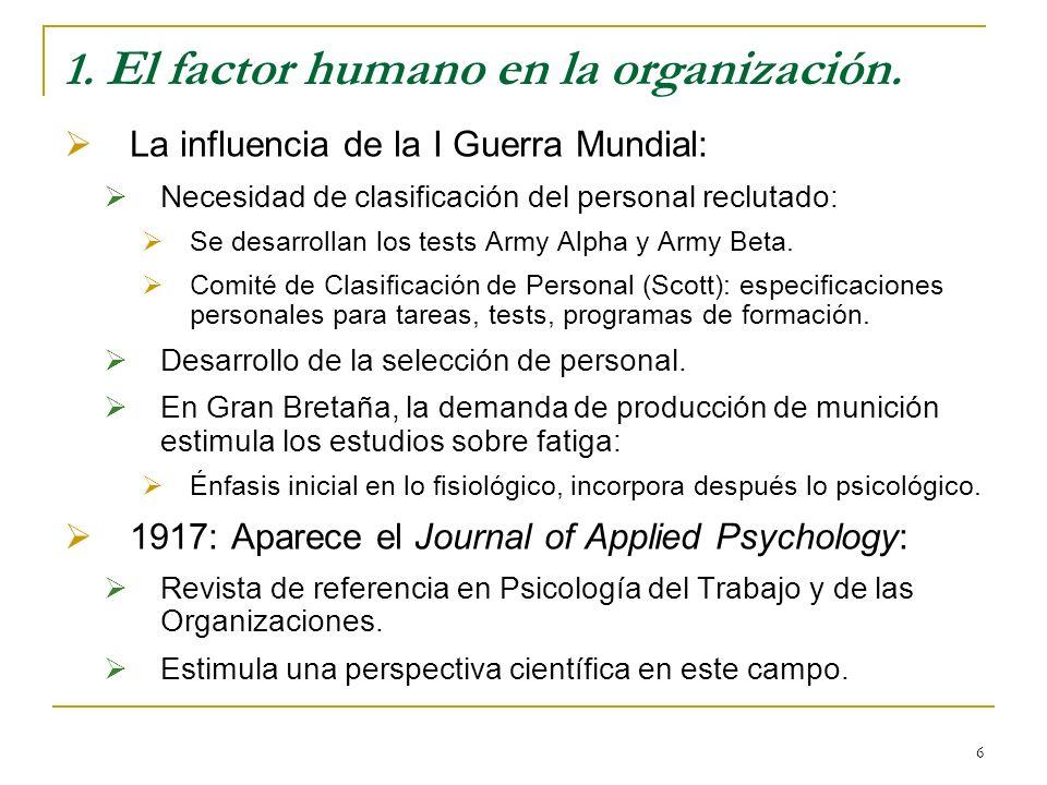 6 1. El factor humano en la organización. La influencia de la I Guerra Mundial: Necesidad de clasificación del personal reclutado: Se desarrollan los