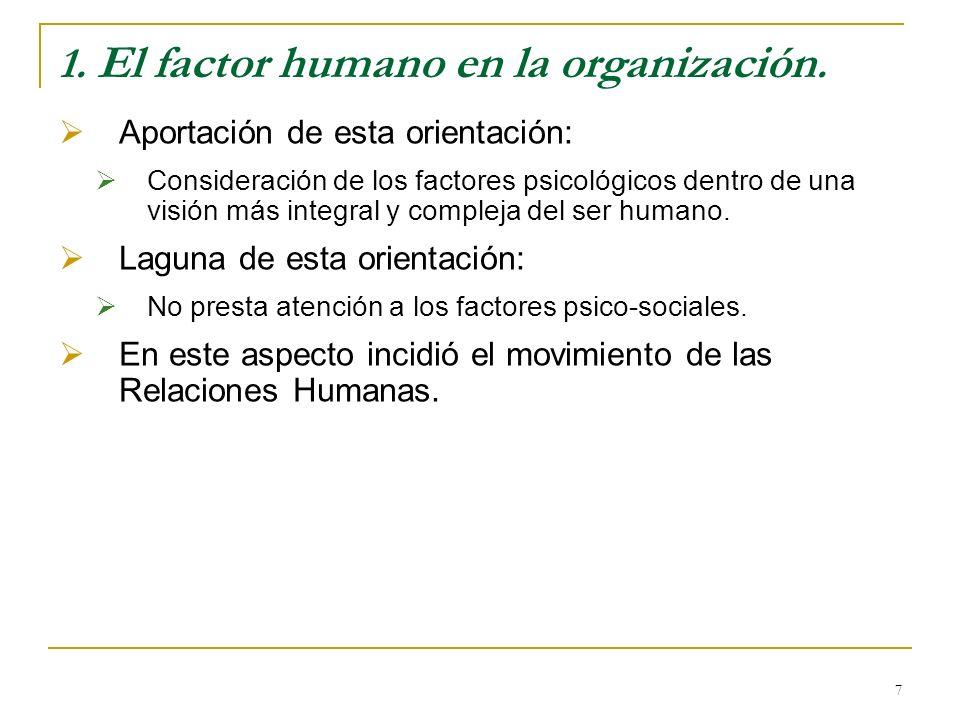 7 1. El factor humano en la organización. Aportación de esta orientación: Consideración de los factores psicológicos dentro de una visión más integral