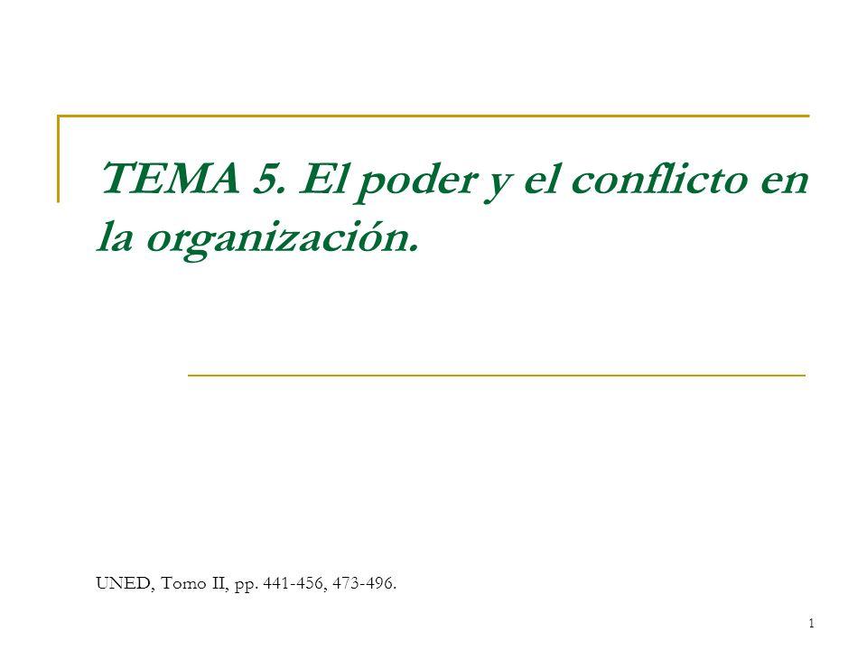 1 TEMA 5. El poder y el conflicto en la organización. UNED, Tomo II, pp. 441-456, 473-496.