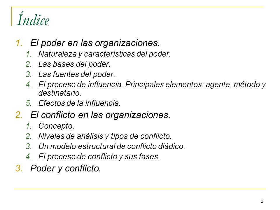 2 Índice 1.El poder en las organizaciones. 1.Naturaleza y características del poder. 2.Las bases del poder. 3.Las fuentes del poder. 4.El proceso de i