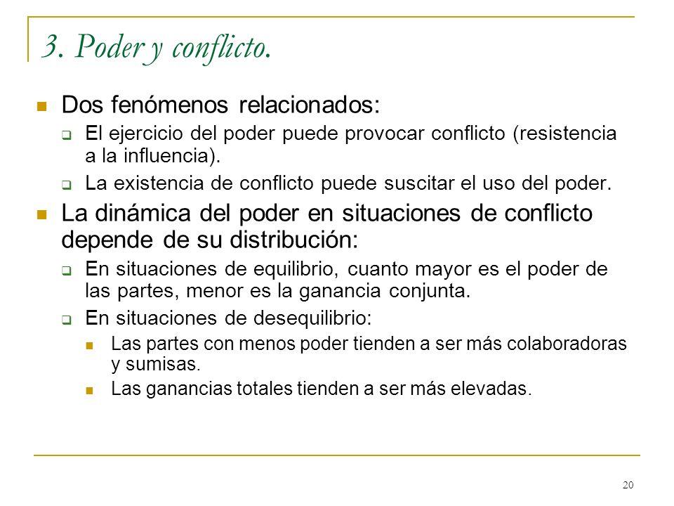 20 3. Poder y conflicto. Dos fenómenos relacionados: El ejercicio del poder puede provocar conflicto (resistencia a la influencia). La existencia de c