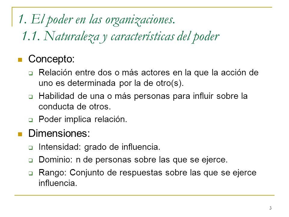 3 1. El poder en las organizaciones. 1.1. Naturaleza y características del poder Concepto: Relación entre dos o más actores en la que la acción de uno