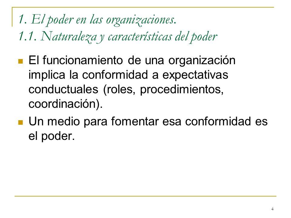 4 1. El poder en las organizaciones. 1.1. Naturaleza y características del poder El funcionamiento de una organización implica la conformidad a expect