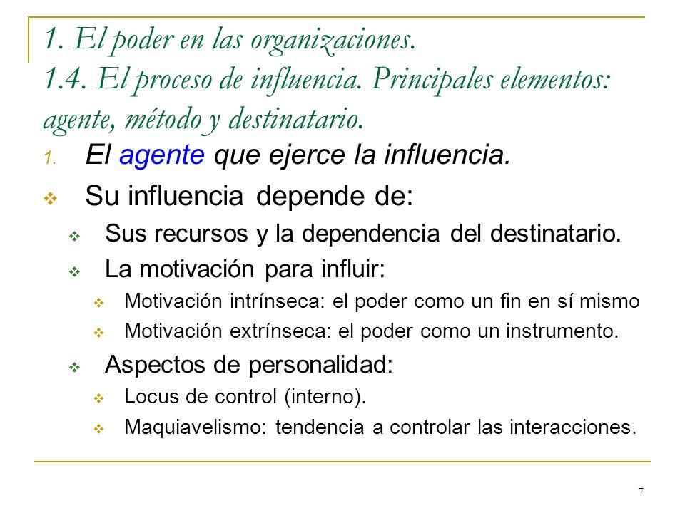 7 1. El poder en las organizaciones. 1.4. El proceso de influencia. Principales elementos: agente, método y destinatario. 1. El agente que ejerce la i