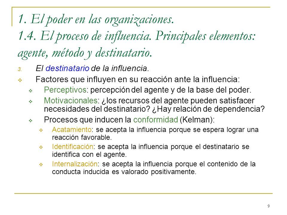 9 1. El poder en las organizaciones. 1.4. El proceso de influencia. Principales elementos: agente, método y destinatario. 3. El destinatario de la inf