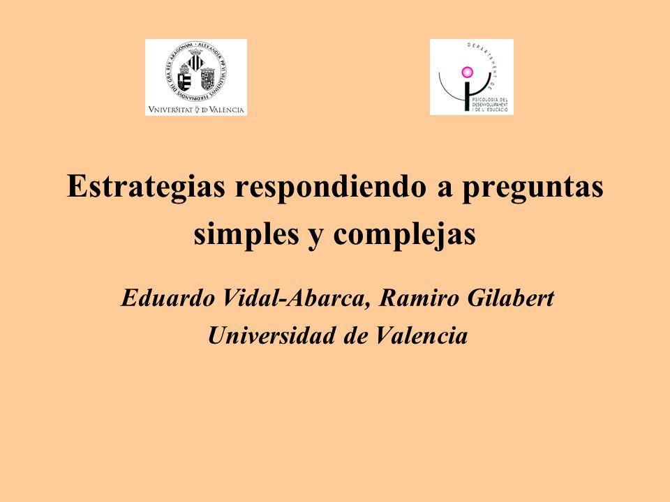 Estrategias respondiendo a preguntas simples y complejas Eduardo Vidal-Abarca, Ramiro Gilabert Universidad de Valencia
