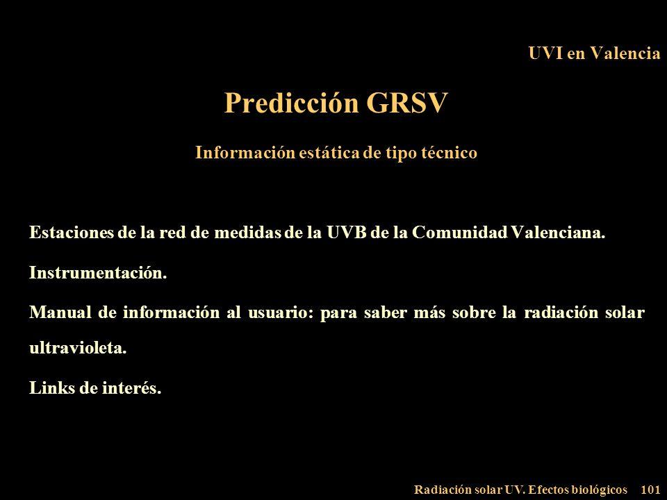 Radiación solar UV. Efectos biológicos101 UVI en Valencia Predicción GRSV Información estática de tipo técnico Estaciones de la red de medidas de la U