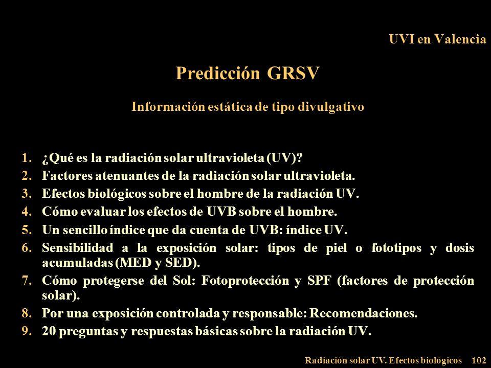 Radiación solar UV. Efectos biológicos102 UVI en Valencia Predicción GRSV Información estática de tipo divulgativo 1.¿Qué es la radiación solar ultrav