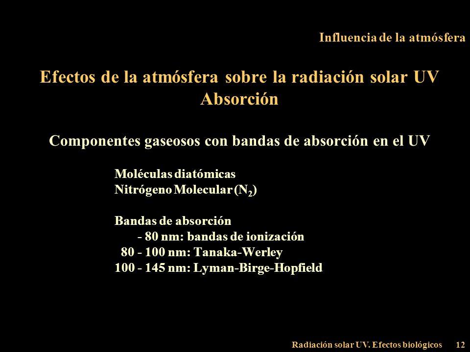 Radiación solar UV. Efectos biológicos12 Influencia de la atmósfera Efectos de la atmósfera sobre la radiación solar UV Absorción Componentes gaseosos
