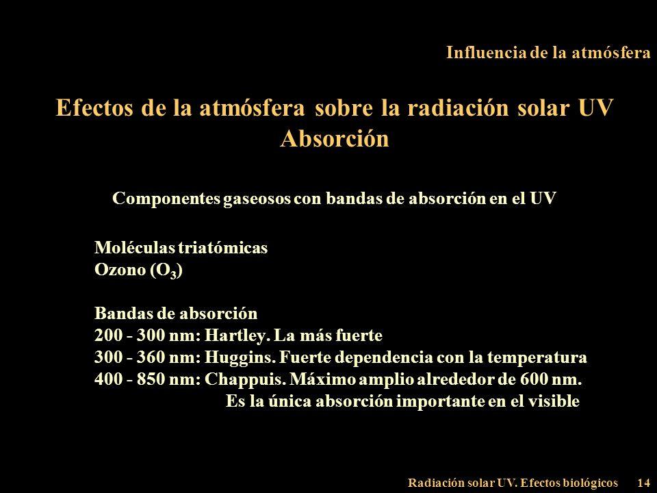 Radiación solar UV. Efectos biológicos14 Influencia de la atmósfera Efectos de la atmósfera sobre la radiación solar UV Absorción Componentes gaseosos