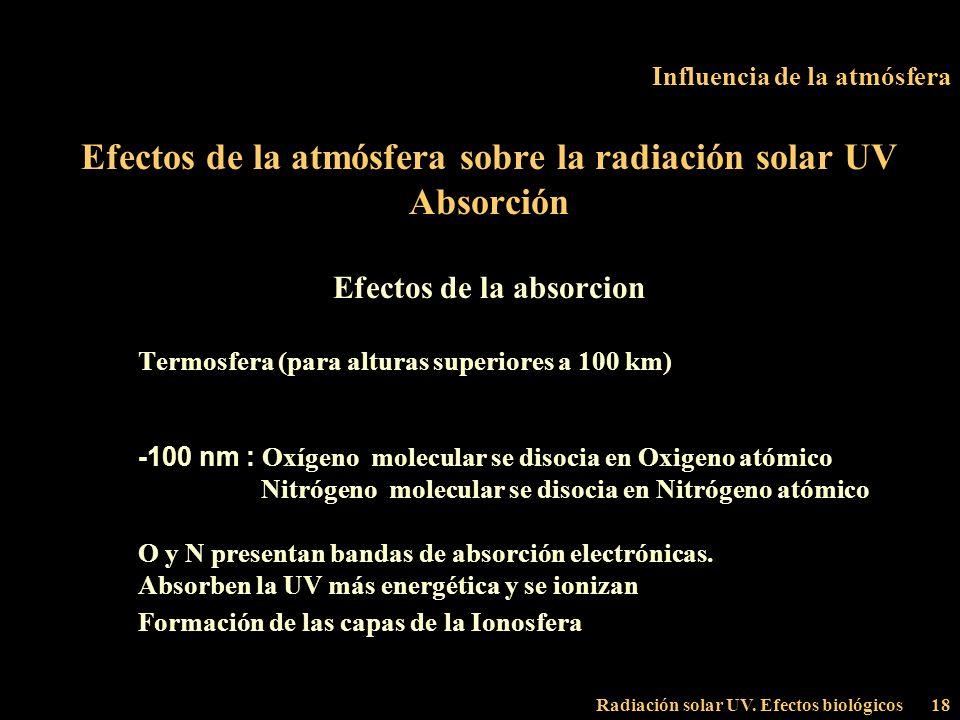 Radiación solar UV. Efectos biológicos18 Influencia de la atmósfera Efectos de la atmósfera sobre la radiación solar UV Absorción Efectos de la absorc