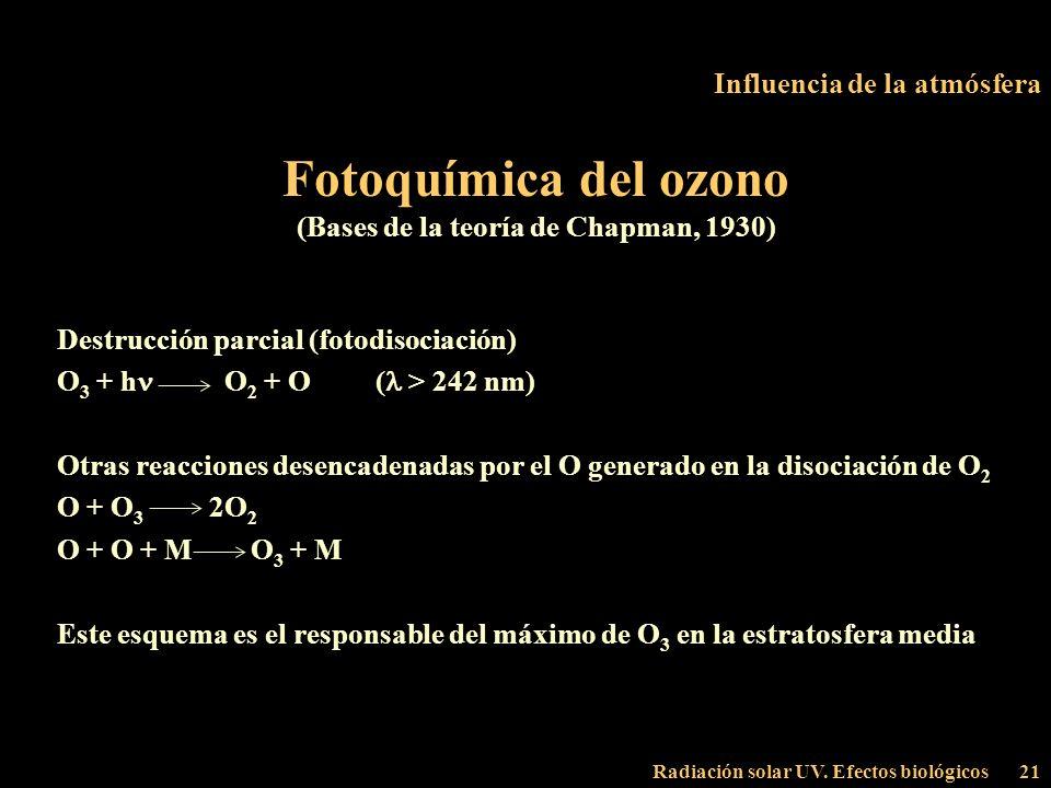 Radiación solar UV. Efectos biológicos21 Influencia de la atmósfera Fotoquímica del ozono (Bases de la teoría de Chapman, 1930) Destrucción parcial (f