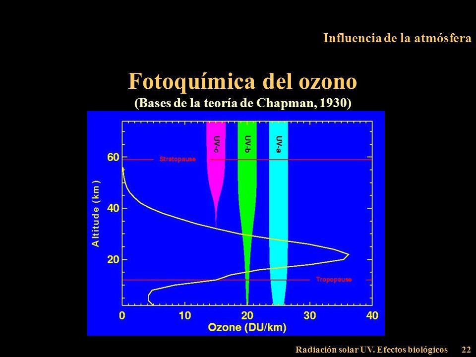 Radiación solar UV. Efectos biológicos22 Influencia de la atmósfera Fotoquímica del ozono (Bases de la teoría de Chapman, 1930)