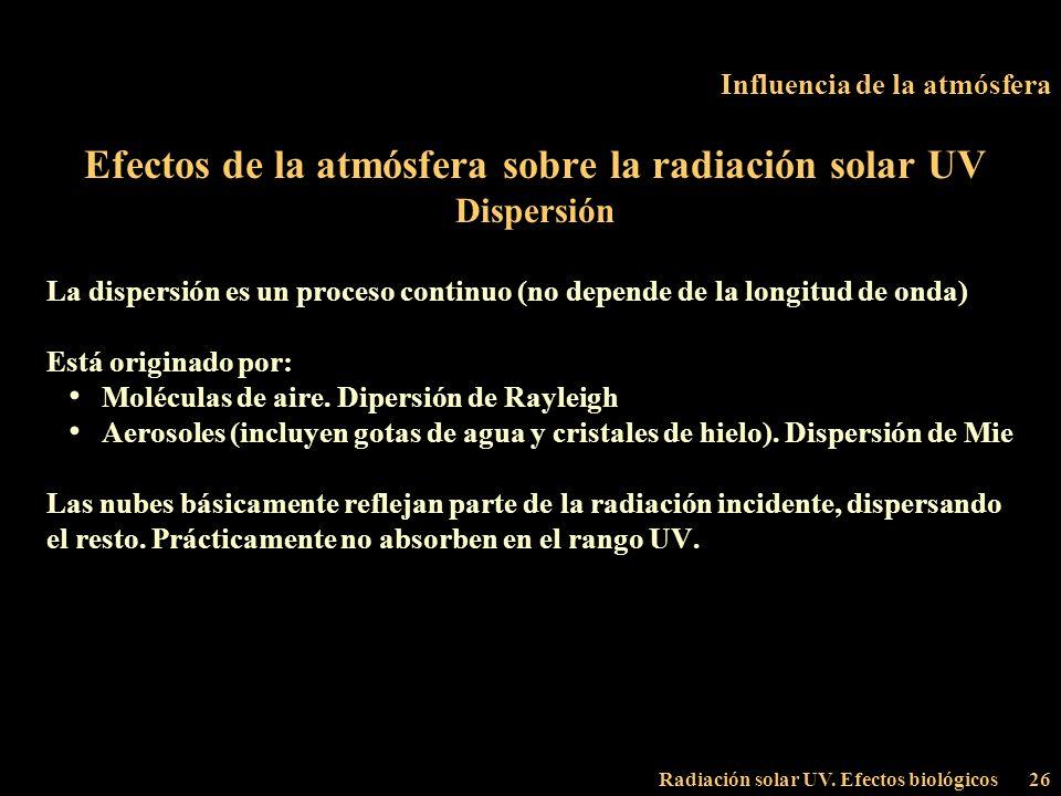 Radiación solar UV. Efectos biológicos26 Influencia de la atmósfera Efectos de la atmósfera sobre la radiación solar UV Dispersión La dispersión es un