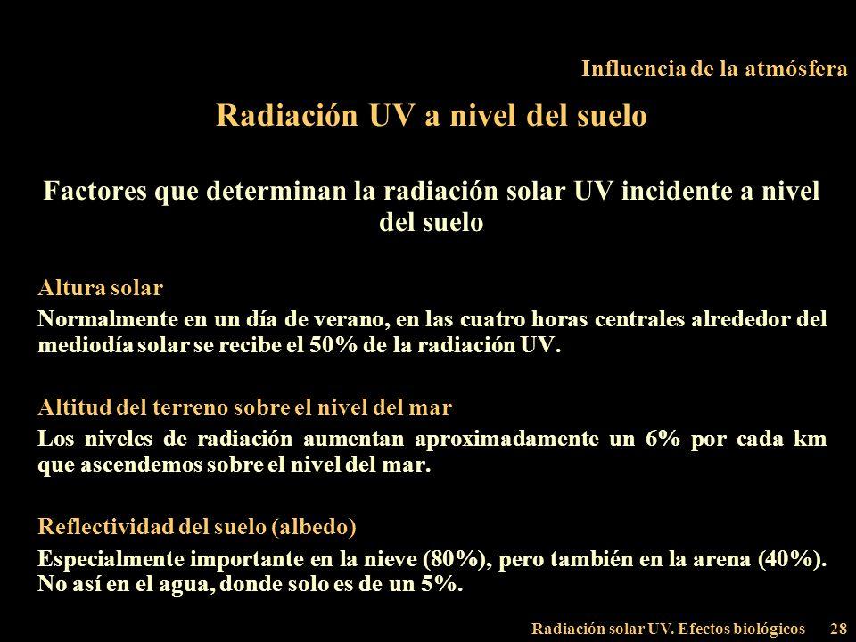 Radiación solar UV. Efectos biológicos28 Influencia de la atmósfera Radiación UV a nivel del suelo Factores que determinan la radiación solar UV incid