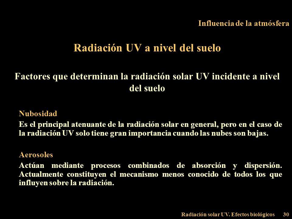 Radiación solar UV. Efectos biológicos30 Influencia de la atmósfera Radiación UV a nivel del suelo Factores que determinan la radiación solar UV incid