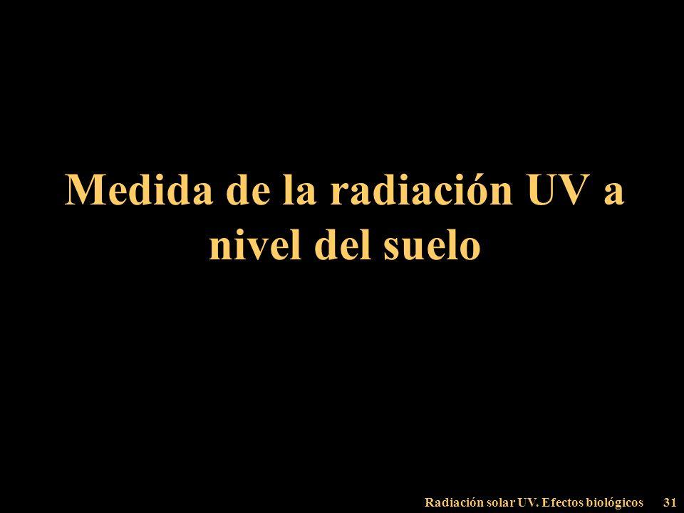 Radiación solar UV. Efectos biológicos31 Medida de la radiación UV a nivel del suelo