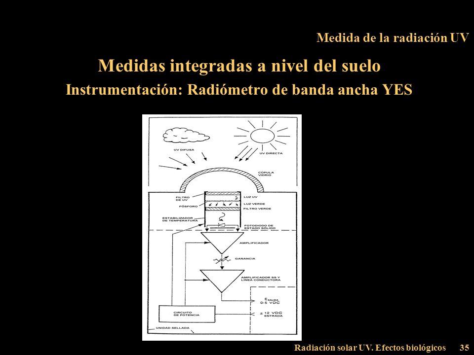 Radiación solar UV. Efectos biológicos35 Medida de la radiación UV Medidas integradas a nivel del suelo Instrumentación: Radiómetro de banda ancha YES