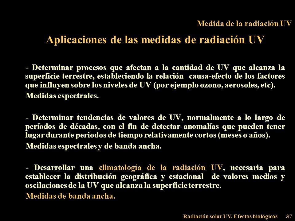 Radiación solar UV. Efectos biológicos37 Medida de la radiación UV Aplicaciones de las medidas de radiación UV - Determinar procesos que afectan a la