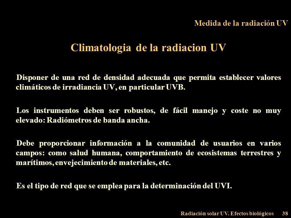 Radiación solar UV. Efectos biológicos38 Medida de la radiación UV Climatologia de la radiacion UV Disponer de una red de densidad adecuada que permit