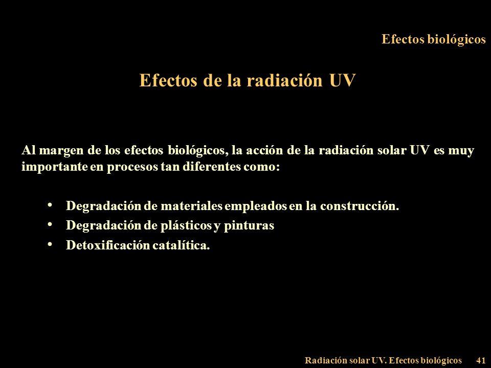 Radiación solar UV. Efectos biológicos41 Efectos biológicos Efectos de la radiación UV Al margen de los efectos biológicos, la acción de la radiación