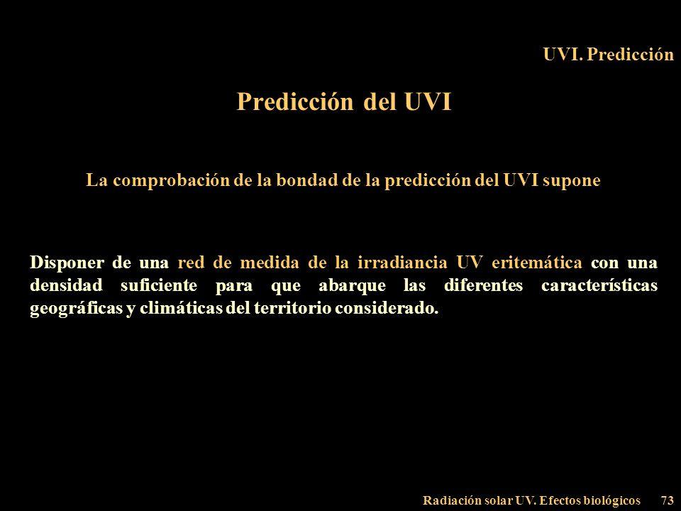 Radiación solar UV. Efectos biológicos73 UVI. Predicción Predicción del UVI La comprobación de la bondad de la predicción del UVI supone Disponer de u