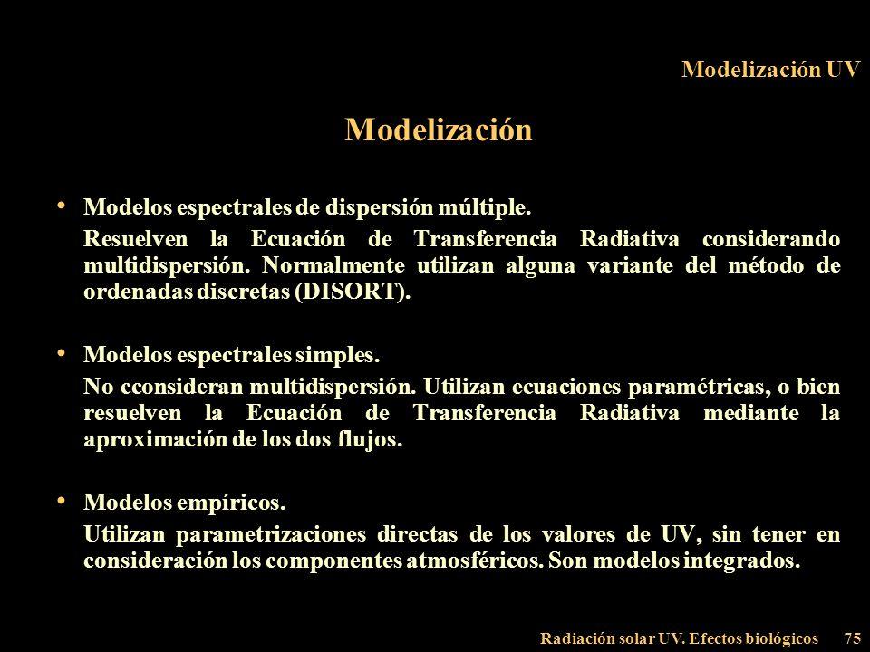 Radiación solar UV. Efectos biológicos75 Modelización UV Modelización Modelos espectrales de dispersión múltiple. Resuelven la Ecuación de Transferenc