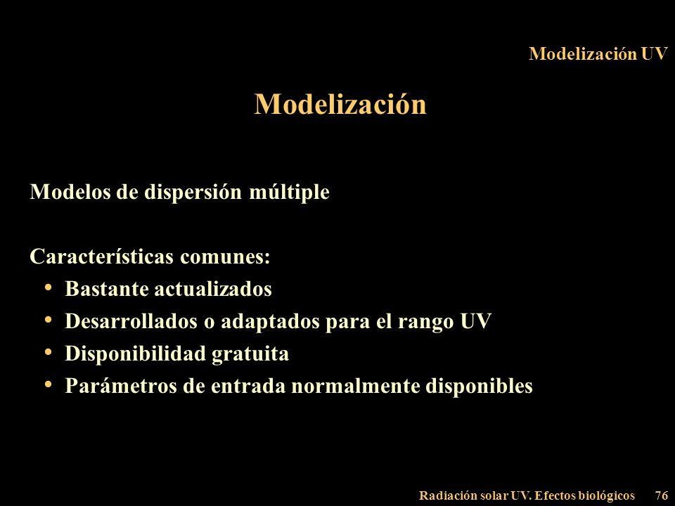 Radiación solar UV. Efectos biológicos76 Modelización UV Modelización Modelos de dispersión múltiple Características comunes: Bastante actualizados De