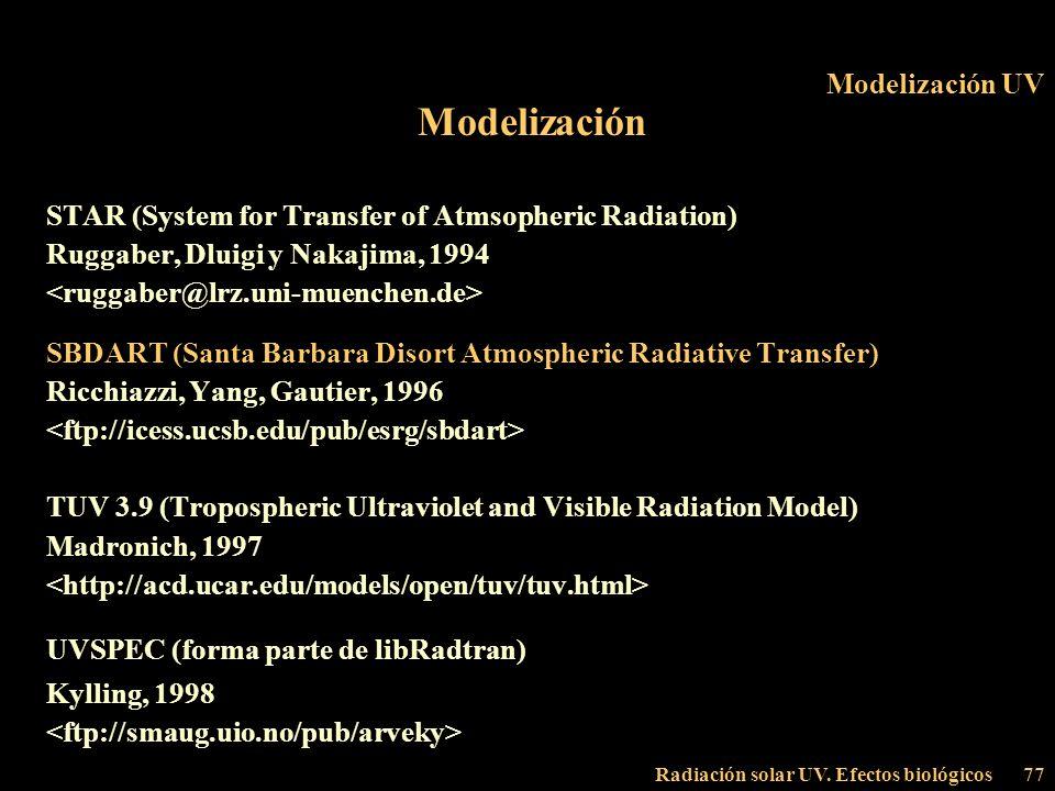 Radiación solar UV. Efectos biológicos77 Modelización UV Modelización STAR (System for Transfer of Atmsopheric Radiation) Ruggaber, Dluigi y Nakajima,