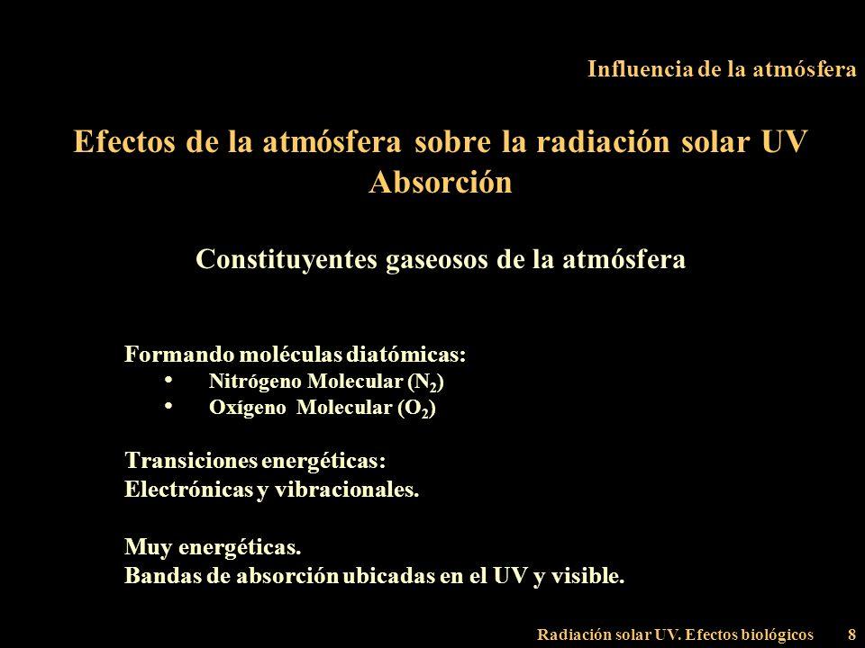 Radiación solar UV. Efectos biológicos8 Influencia de la atmósfera Efectos de la atmósfera sobre la radiación solar UV Absorción Constituyentes gaseos