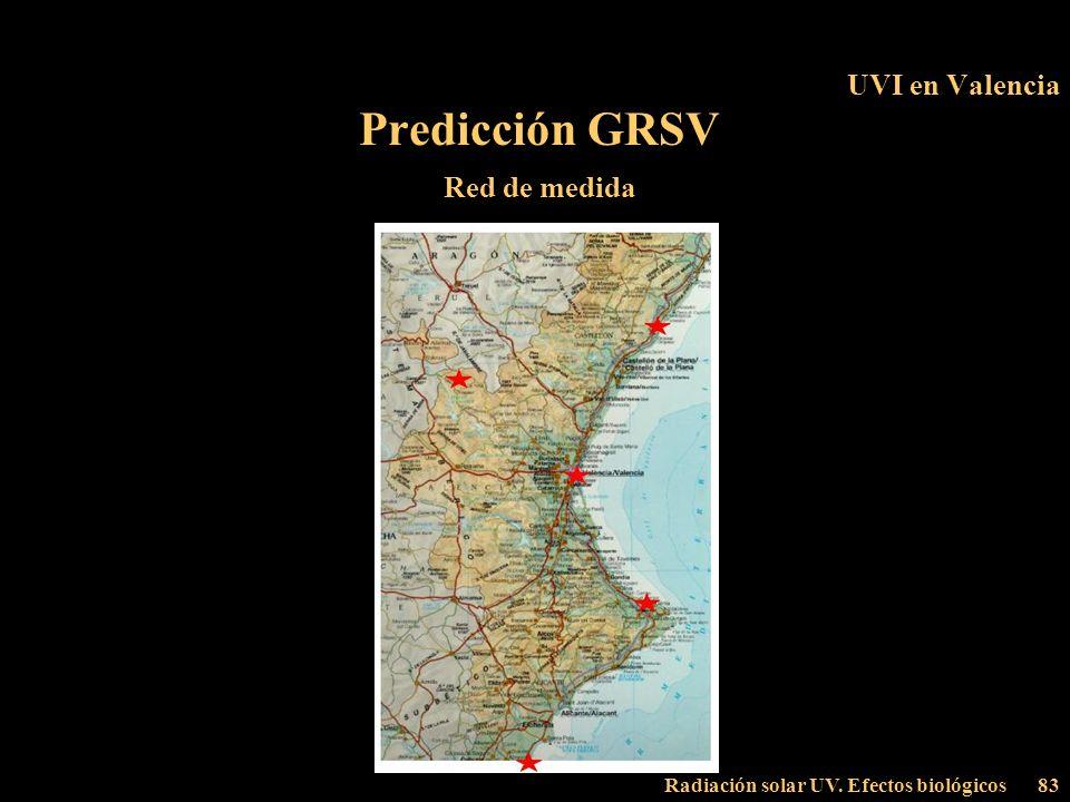 Radiación solar UV. Efectos biológicos83 UVI en Valencia Predicción GRSV Red de medida