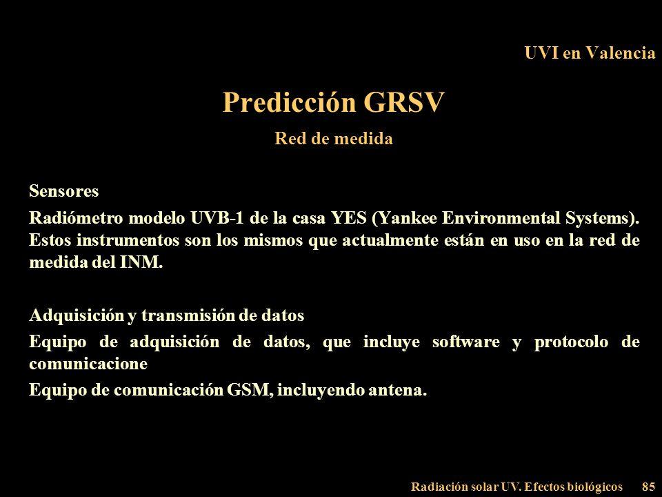 Radiación solar UV. Efectos biológicos85 UVI en Valencia Predicción GRSV Red de medida Sensores Radiómetro modelo UVB-1 de la casa YES (Yankee Environ