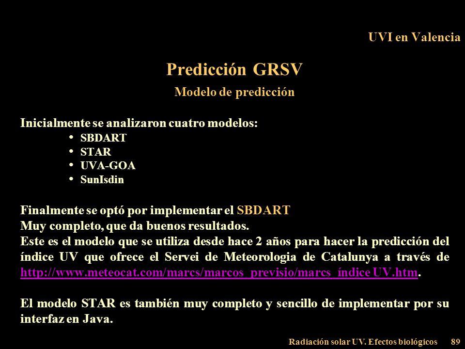 Radiación solar UV. Efectos biológicos89 UVI en Valencia Predicción GRSV Modelo de predicción Inicialmente se analizaron cuatro modelos: SBDART STAR U