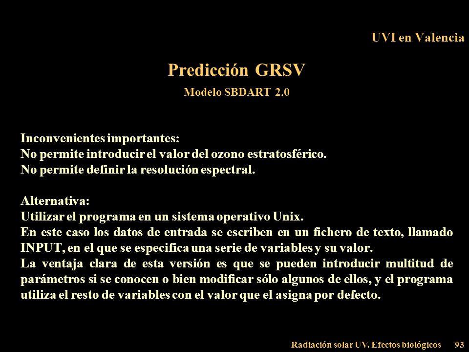 Radiación solar UV. Efectos biológicos93 UVI en Valencia Predicción GRSV Modelo SBDART 2.0 Inconvenientes importantes: No permite introducir el valor