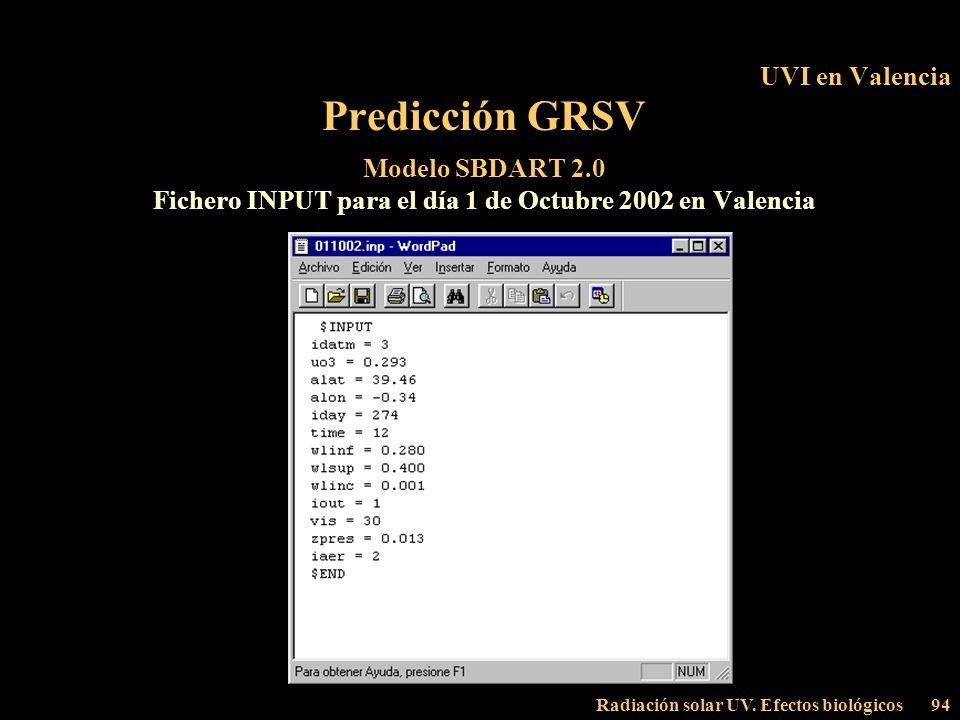 Radiación solar UV. Efectos biológicos94 UVI en Valencia Predicción GRSV Modelo SBDART 2.0 Fichero INPUT para el día 1 de Octubre 2002 en Valencia
