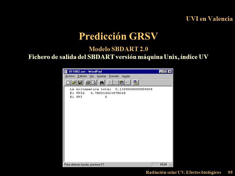 Radiación solar UV. Efectos biológicos95 UVI en Valencia Predicción GRSV Modelo SBDART 2.0 Fichero de salida del SBDART versión máquina Unix, índice U