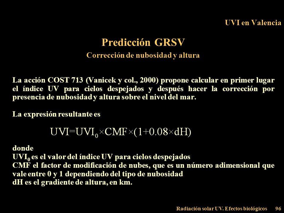 Radiación solar UV. Efectos biológicos96 UVI en Valencia Predicción GRSV Corrección de nubosidad y altura La acción COST 713 (Vanicek y col., 2000) pr