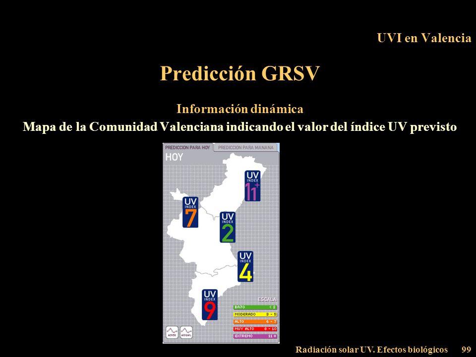 Radiación solar UV. Efectos biológicos99 UVI en Valencia Predicción GRSV Información dinámica Mapa de la Comunidad Valenciana indicando el valor del í