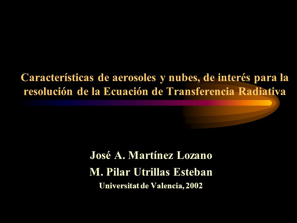 112 Caracterización nubes Parametrización de las propiedades radiativas de las nubes Rango de OC.
